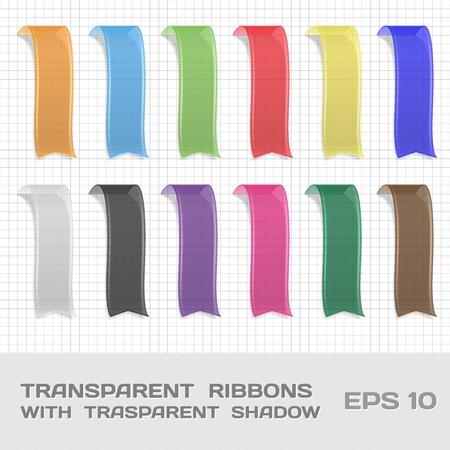 plexiglas: Transparent Ribbons Set 1  Tags, Bookmarks  Vector