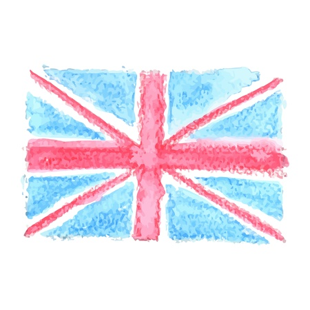 Watercolor British Flag  UK, United Kingdom Vector