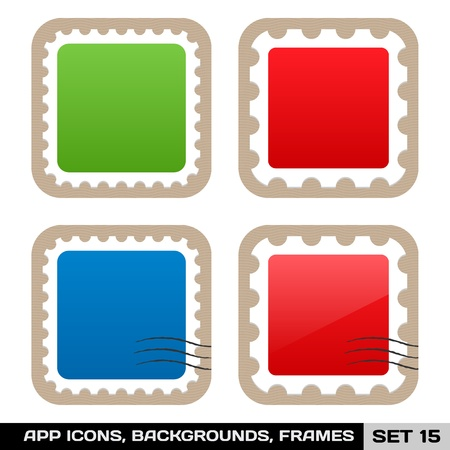 Set Of Colorful App Icon Frames, Templates, Buttons  Set 15 Stock Vector - 18814517