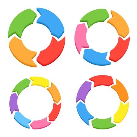 ciclo de vida: Las flechas de color Círculo Set