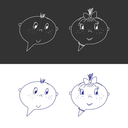 Hand Drawn Faces  Boy And Girl  Speech Bubble Like  Cartoon Style Vector