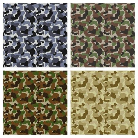 camuflaje: Conjunto de cl�sicos patrones de camuflaje textura original Vectores