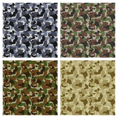 Set Of Classic Camouflage Seamless Patterns  Original Texture Vector