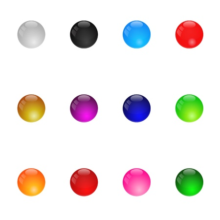 Collection Of Colorful Glossy Spheres  Set 1  Isolated  Vector Illustration Vector