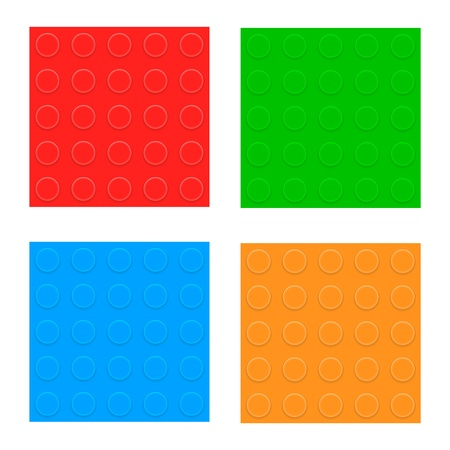 solid color: Set Of Seamless Patterns  Plastic Constructor Blocks