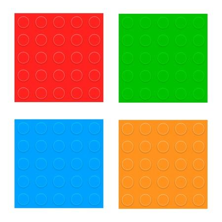 constructor: Set Of Seamless Patterns  Plastic Constructor Blocks