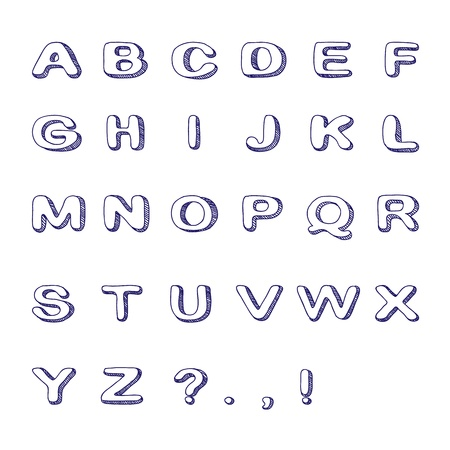 Hand Drawn Font, Doodle Alphabet, Childish ABC Illustration Vector
