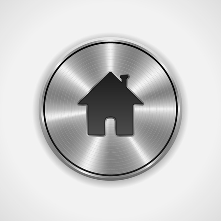 Home Button, Icon  Metal, Round  Vector