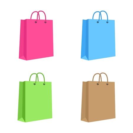 로프와 빈 종이 쇼핑 가방 세트 핑크, 블루, 그린, 브라운 고립 된 핸들 일러스트