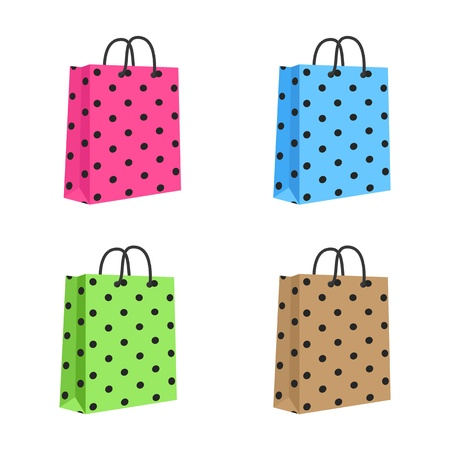 Blank Paper Shopping Bag With Rope Handles  Set  Pink, Blue, Green, Brown  Isolated Vector