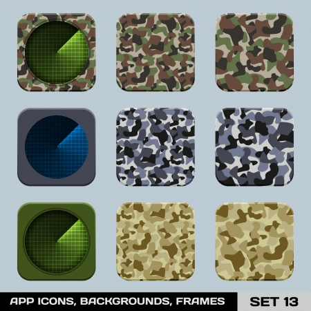 Set Of App Icon Backgrounds, Frames, Templates  Set 14  War Game, Military Style Stock Vector - 19316388