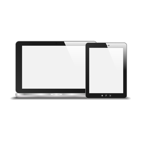 Realistic Notebook And Tablet PC With Blank Screen  With Reflection  Isolated On White Background   Stock Vector - 19316380