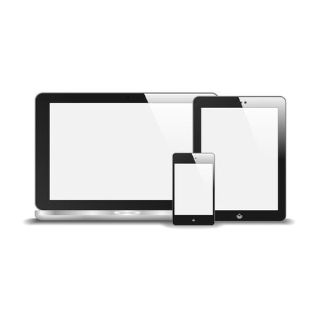 Realistic Notebook, Smart Phone And Tablet PC With Blank Screen  With Reflection  Isolated On White Background   Vector