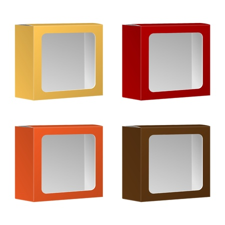 Blank Product Package Box With Window Isolated On White Background Stock Vector - 19316362