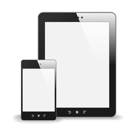 Realistic Tablet PC And Smart Phone With Blank Screen  With Reflection  Isolated On White Background Stock Vector - 19316377