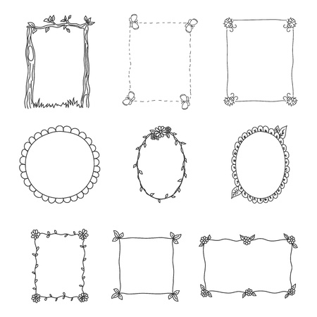 hand tag: Hand Drawn Frames  Set 2  Vector Illustration