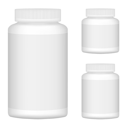 supplements: White Blank Plastic Bottle Set For Packaging Design  Set 1  Vector Illustration