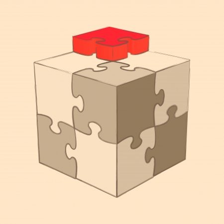 Cube Puzzle  Retro Style  Sketch  Vector Illustration Vector