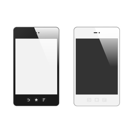 adaptive: Realistic Smart Phone With Blank Screen  Set  With Reflection  Isolated On White Background  Vector Illustration Illustration