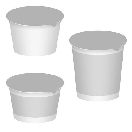 White Blank Packaging For Yogurt, Milk Products, Desserts  Set For Packaging Design  Vector Illustration  イラスト・ベクター素材