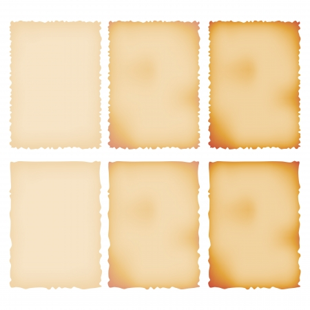 Burnt Paper Set  Torn Border  Isolated On White  Vector Illustration
