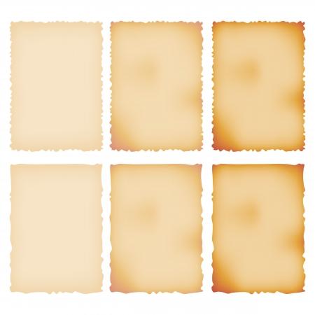 Gebrand Document Set Gescheurde grens geïsoleerd op wit Vector Illustratie