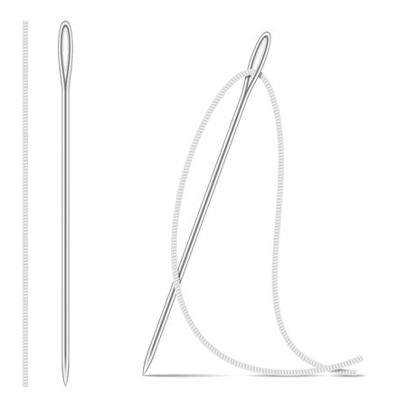 Needle And Thread  Isolated On White  Vector Illustration 일러스트