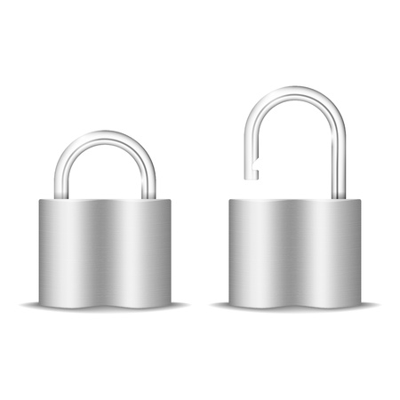 Padlock Icon  Open And Closed  Isolated On White  Vector Illustration Stock Vector - 20051779