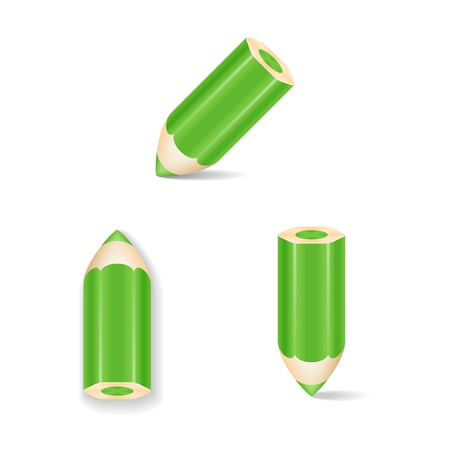 Green Pencil Icon Set  Isolated  Vector Illustration Vector