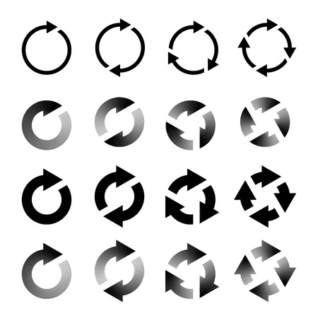 Rotating Arrows Set  Refresh, Reload, Recycle Sign  Vector Illustration Vettoriali
