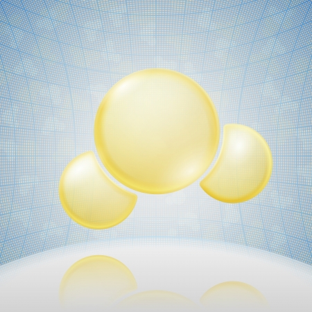chemical element: Science Background  Yellow Molecule  Vector Illustration