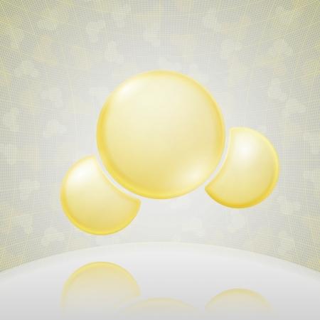 molecula de agua: Ciencias fondo amarillo Ilustración vectorial Molecule