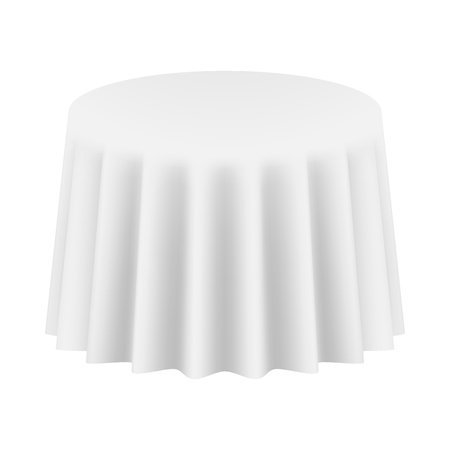 Empty Round Table Cloth  Isolated  Vector Illustration 일러스트