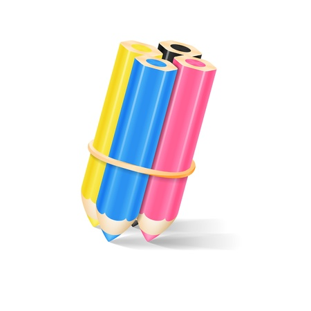 CMYK Pencils With Rubber Band Vector Illustration