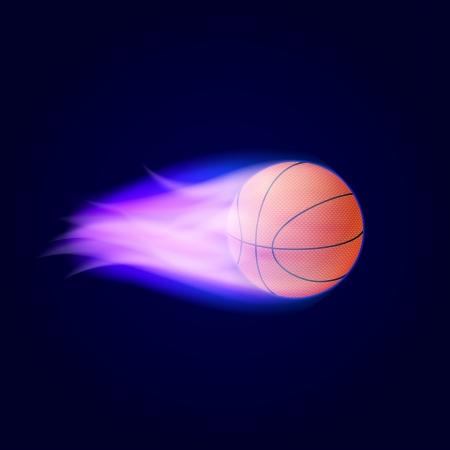 Basketball Ball On Fire  Vector Illustration Vector