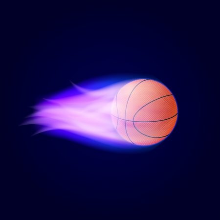 blue flame: Basketball Ball On Fire  Vector Illustration