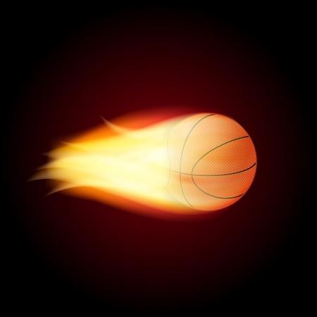 Baloncesto en el fuego Ilustración vectorial
