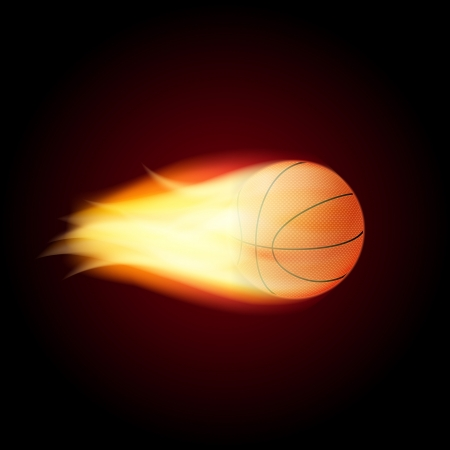 basketball ball on fire: Basketball Ball On Fire  Vector Illustration