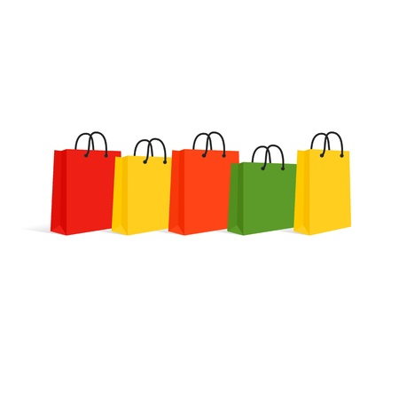 Shopping Bags Set  Isolated On White  Vector Illustration