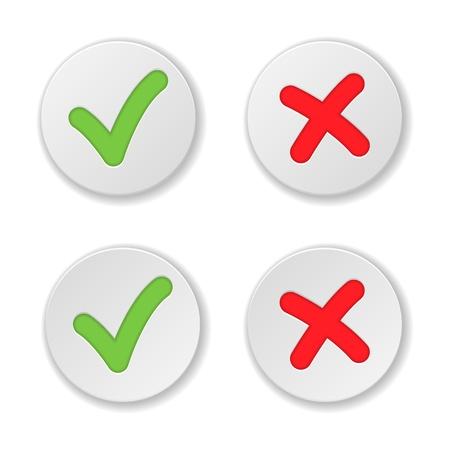 tick: Controle y cruce Marcar Pegatinas ilustraci�n vectorial