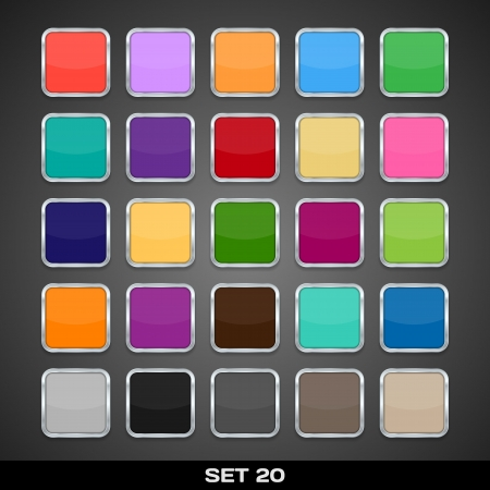 Set Of Colorful App Icon Templates, Frames, Backgrounds  Set 20  Vector Stock Vector - 21085663