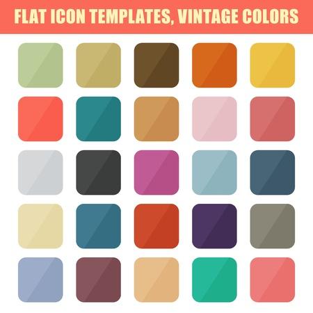 Set Of Flat App Icon Templates, Backgrounds  Vintage Palette  Vector
