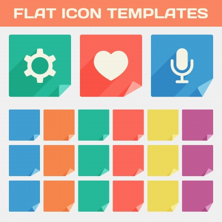 Set Of Trendy Flat App Icon Templates With Different Folded Corners  Vector Vector