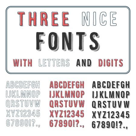 Hand Drawn Font Set  Handwriting Alphabet  ABC with Digits  Vector