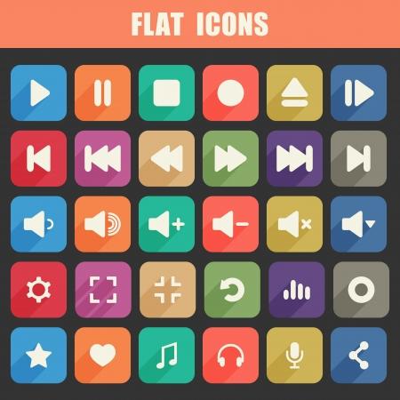 Vector - Trendy Flat Media Player Icons Set  Multimedia  Vector