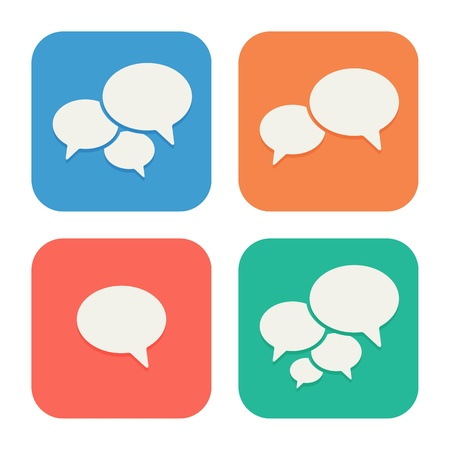 Trendy Flat Icons With Speech Bubbles  Set  Vector Stock Vector - 21085709