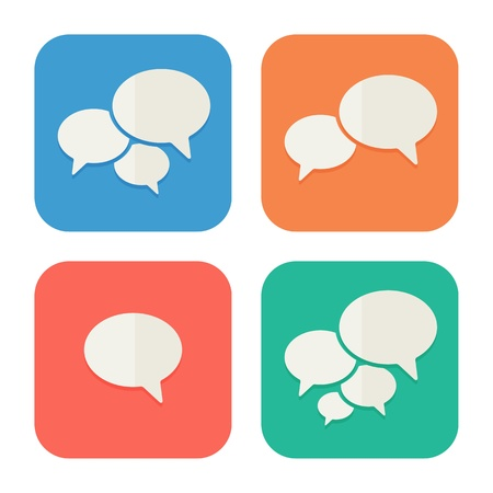 speaking: Trendy Flat Icons With Speech Bubbles  Set  Vector Illustration