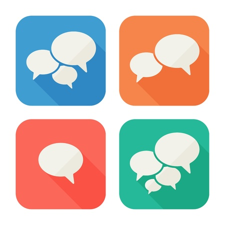 Trendy Flat Icons With Speech Bubbles  Set  Vector Illustration