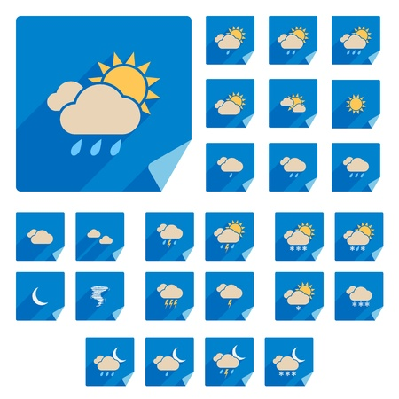Trendy Flat Weather Icon Set Con larga Vector Shadow