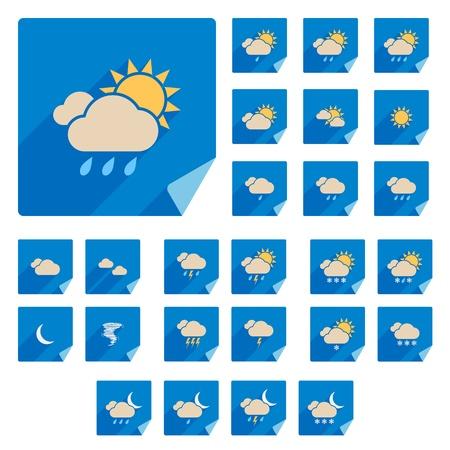 Trendy Wohnung Weather Icon Set mit langen Schatten Vector